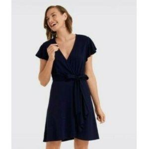 NWT DRAPER JAMES Navy Blue SS Wrap Dress $125